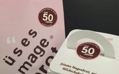 Jubiläumssticker – 50 Jahre Traditionsprodukte